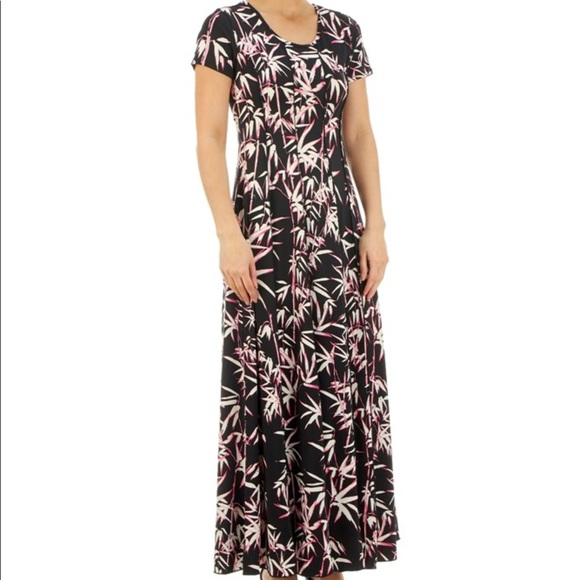 Sami /& Jo Petite Tropical Floral Ring Neck Panel Dress
